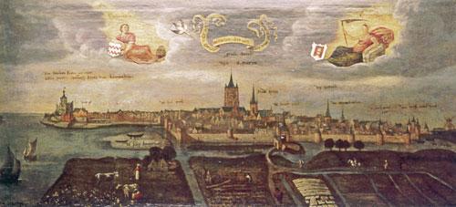 Bybilde av Gorkum (anonym, 1568). I midten kirken St Martin (Sint-Maartenskerk), hvor Leonard Veghel var sogneprest og Nikolas Poppel kapellan. Til venstre borgen som skulle beskytte byen sammen med den brede elven Maas. I forgrunnen, mellom åkrene og vollene, elven Merwede.